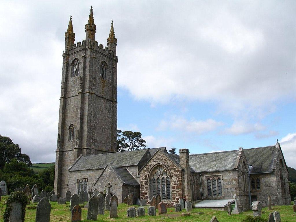 Chiesa di St Pancras nel villaggio di Widecombe-In-the-Moor